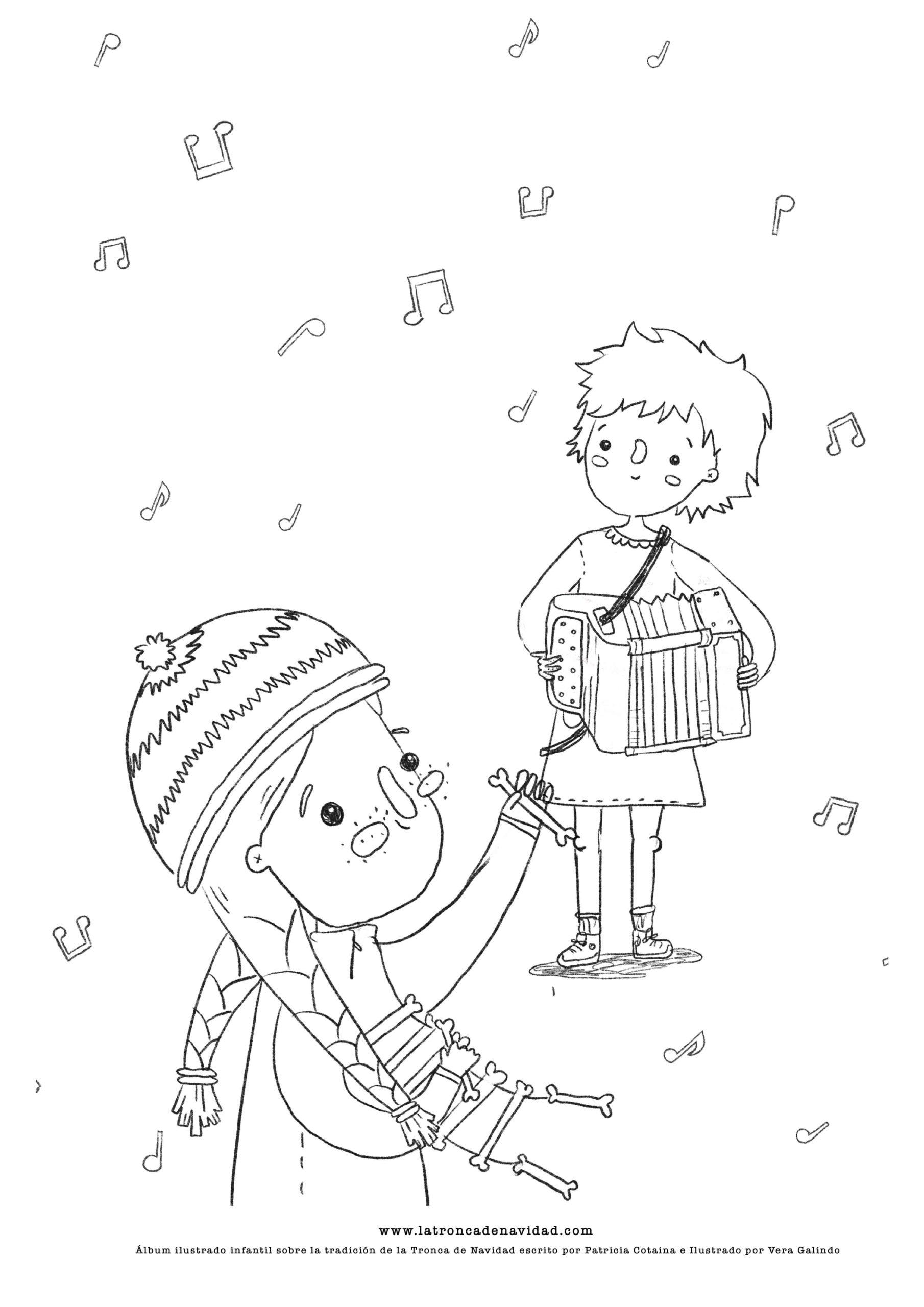 Lámina para colorear de La Tronca de Navidad - Escrito por Patricia Cotaina e Ilustrado por Vera Galindo